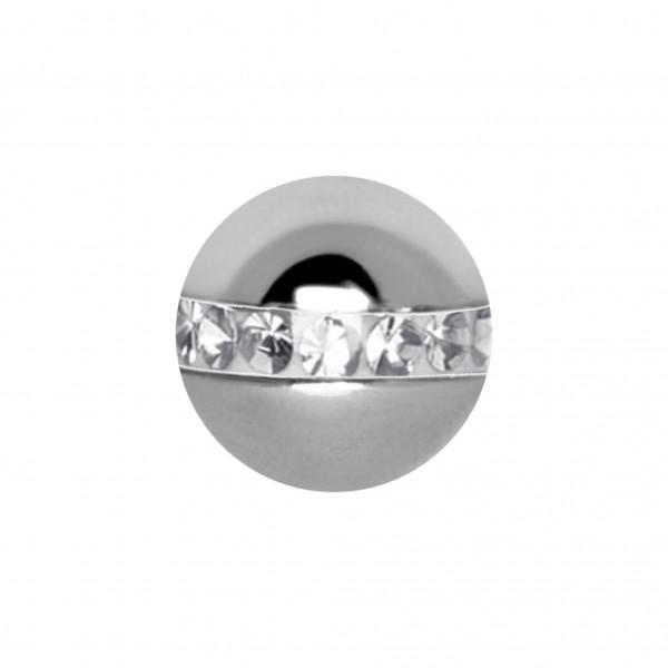 Schraubkugel aus Chirurgenstahl mit Kristall